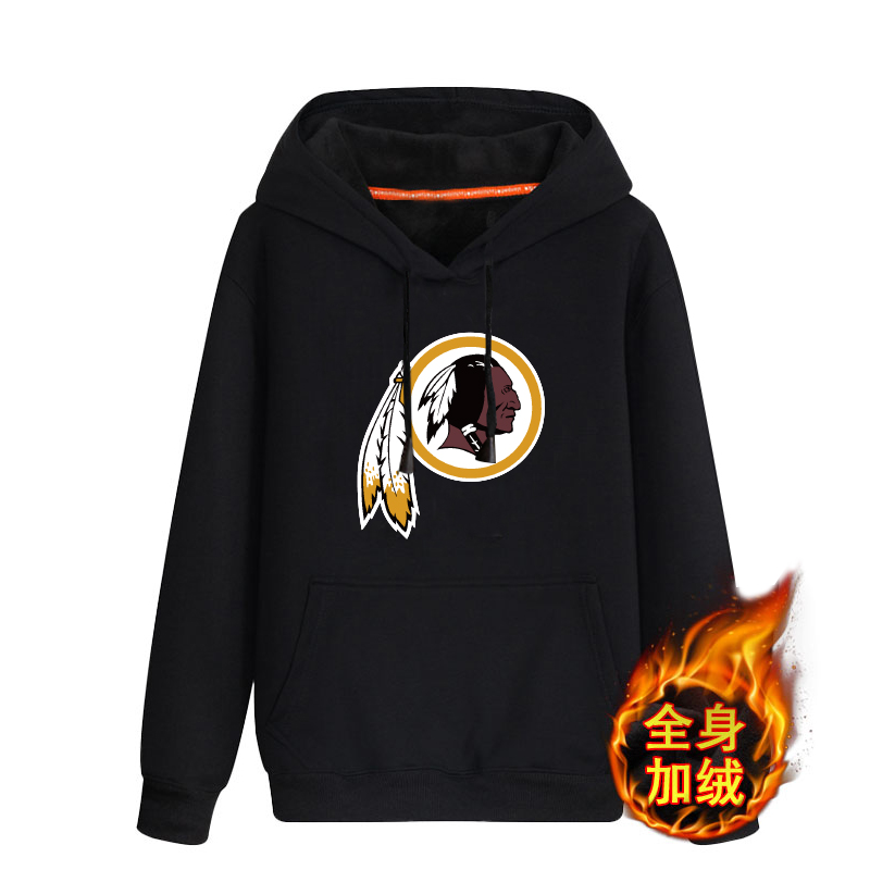 Washington Redskins Black Men's Winter Thicken NFL Pullover Hoodie