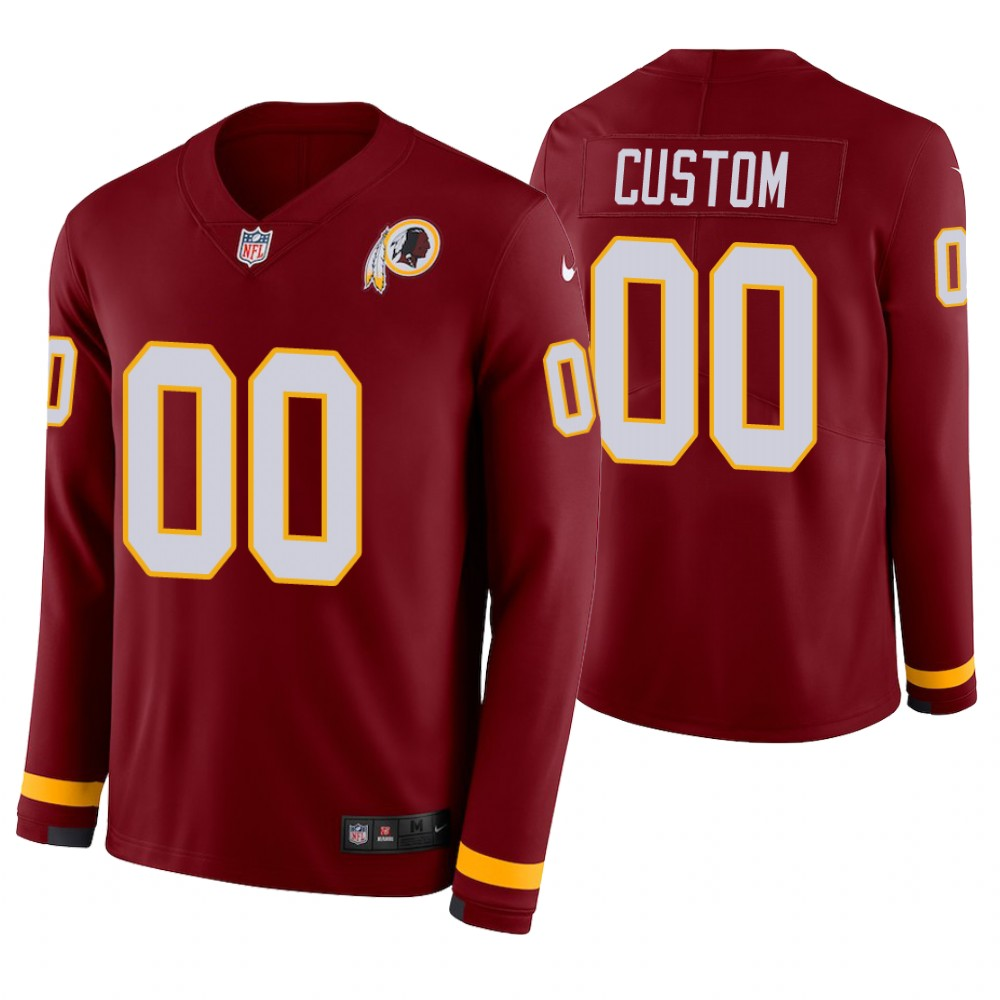 Washington Redskins Custom Burgundy Therma Long Sleeve Jersey
