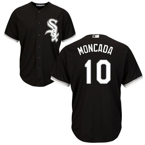 White Sox #10 Yoan Moncada Black Cool Base Stitched Youth MLB Jersey