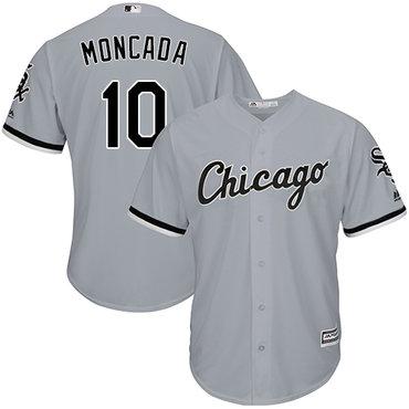 White Sox #10 Yoan Moncada Grey Cool Base Stitched Youth MLB Jersey