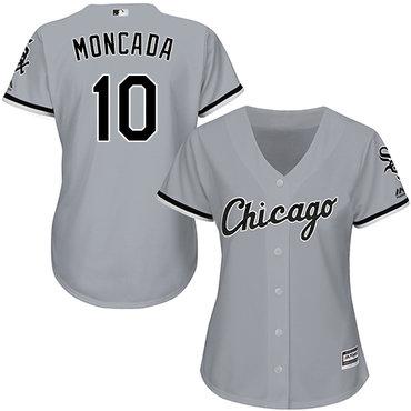 White Sox #10 Yoan Moncada Grey Road Women's Stitched MLB Jersey