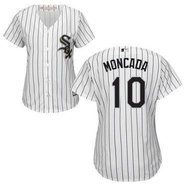 White Sox #10 Yoan Moncada White(Black Strip) Home Women's Stitched MLB Jersey