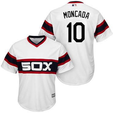 White Sox #10 Yoan Moncada White Alternate Home Cool Base Stitched Youth MLB Jersey