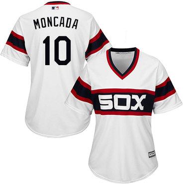 White Sox #10 Yoan Moncada White Alternate Home Women's Stitched MLB Jersey