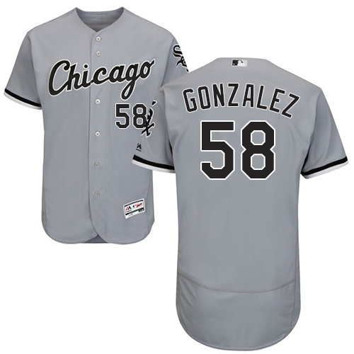 White Sox #58 Miguel Gonzalez Grey Flexbase Authentic Collection Stitched Baseball Jerseys