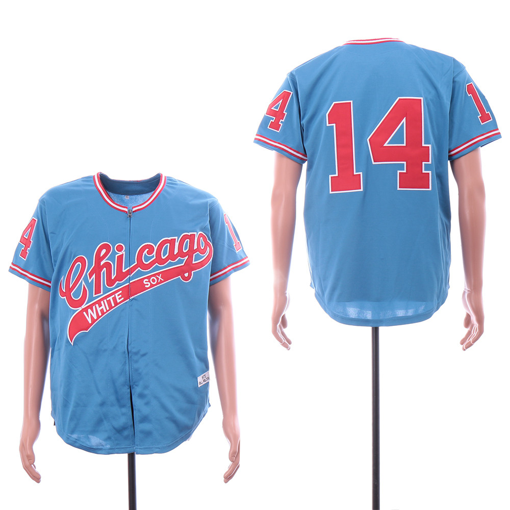 White Sox 14 Bill Melton Light Blue 1972 Throwback Jersey