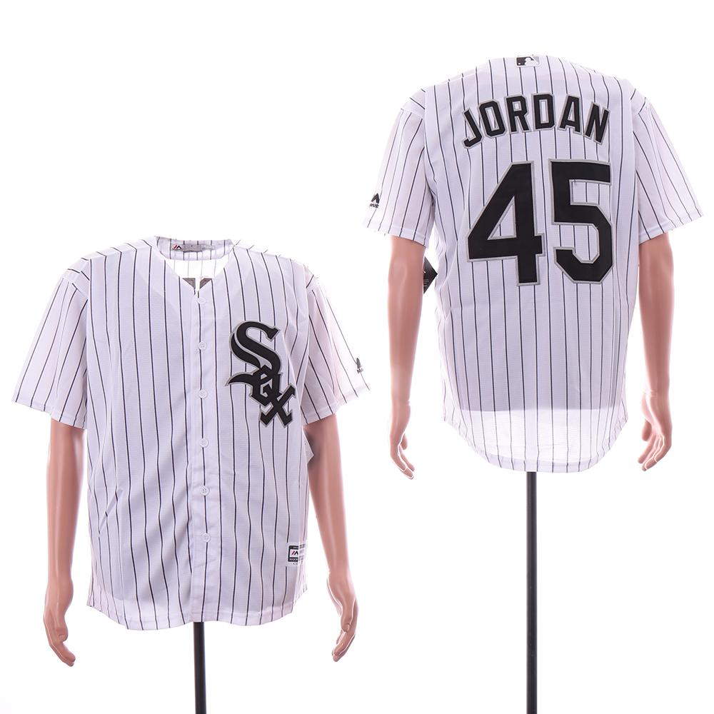 White Sox 45 Michael Jordan White Cool Base Jersey