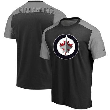 Winnipeg Jets Fanatics Branded Iconic Blocked T-Shirt Black Heathered Gray