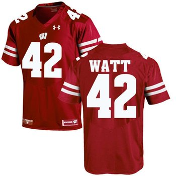 Wisconsin Badgers #42 T.J. Watt Red Under Armour Stitched NCAA Jersey