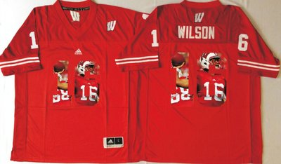 Wisconsin Badgers 16 Russell Wilson Red Portrait Number College Jersey