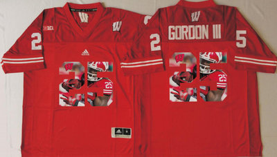 Wisconsin Badgers 25 Melvin Gordon III Red Portrait Number College Jersey