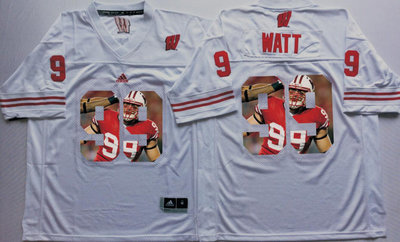 Wisconsin Badgers 99 J.J. Watt White Portrait Number College Jersey
