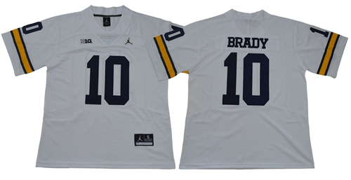 Wolverines #10 Tom Brady White Jordan Brand Limited Stitched NCAA Jersey