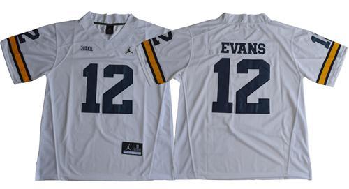 Wolverines #12 Chris Evans White Jordan Brand Stitched NCAA Jersey