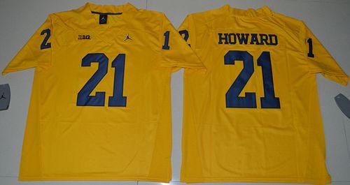 Wolverines #21 Desmond Howard Gold Jordan Brand Limited Stitched NCAA Jersey