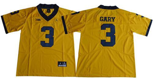 Wolverines #3 Rashan Gary Gold Jordan Brand Limited Stitched NCAA Jersey