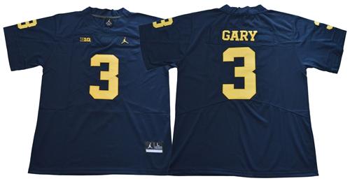 Wolverines #3 Rashan Gary Navy Blue Jordan Brand Limited Stitched NCAA Jersey
