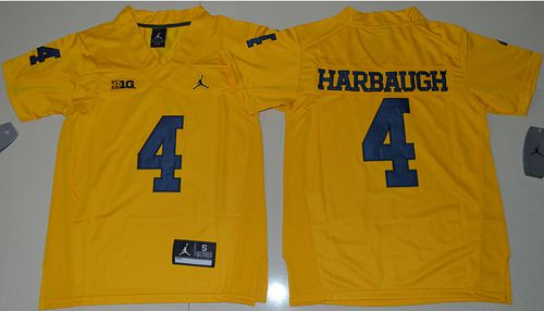 Wolverines #4 Jim Harbaugh Gold Jordan Brand Stitched Youth NCAA Jersey