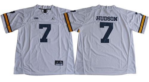 Wolverines #7 Khaleke Hudson White Jordan Brand Stitched NCAA Jersey