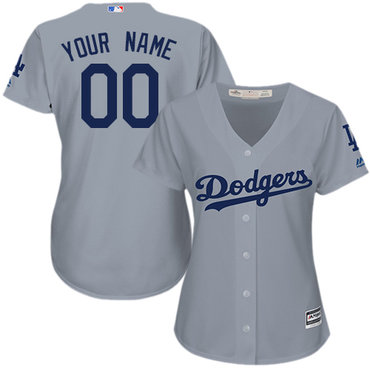 Women  Dodgers Grey Customized Cool Base Jersey