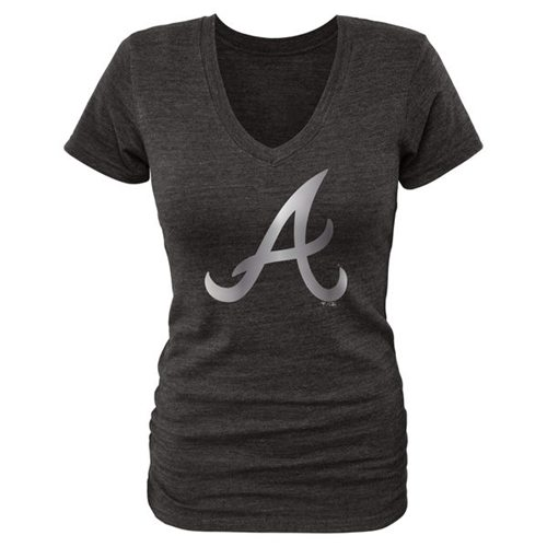Women's Atlanta Braves Fanatics Apparel Platinum Collection V-Neck Tri-Blend T-Shirt Black