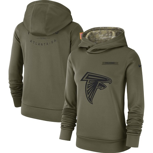 Women's Atlanta Falcons Nike Olive Salute to Service Sideline Therma Performance Pullover Hoodie