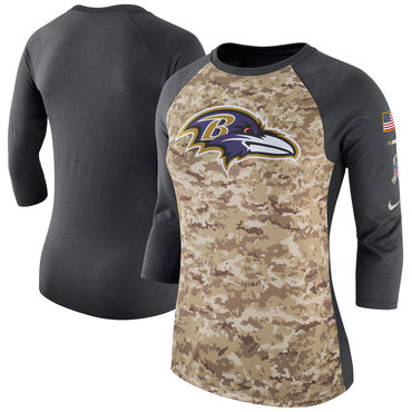 Women's Baltimore Ravens Nike Camo Charcoal Salute To Service Legend Three-Quarter Raglan Sleeve T Shirt