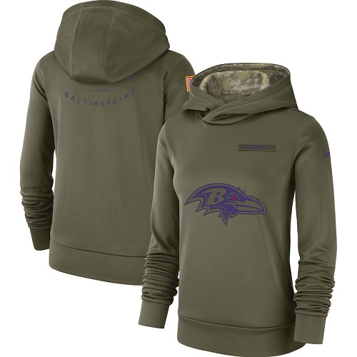 Women's Baltimore Ravens Nike Olive Salute to Service Sideline Therma Performance Pullover Hoodie