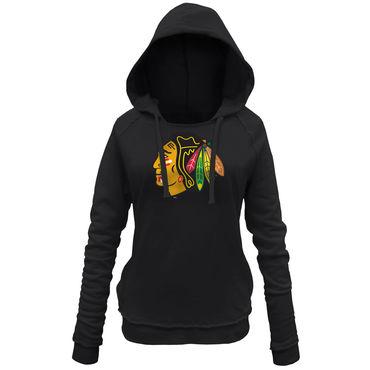 Women's Blackhawks Black Customized All Stitched Hooded Sweatshirt