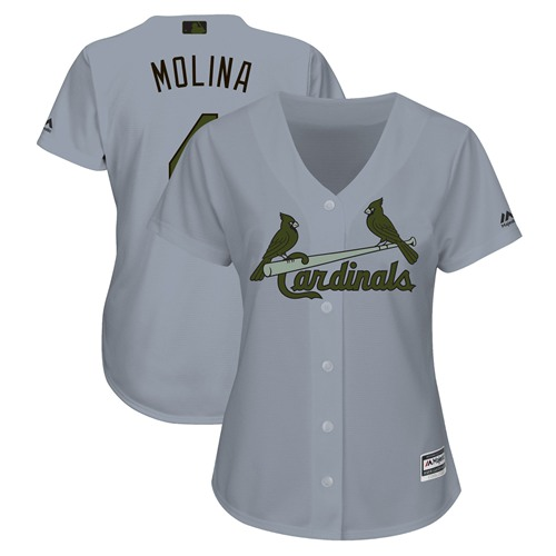 Women's Cardinals #4 Yadier Molina Grey 2018 Memorial Day Cool Base Women's Stitched Baseball Jersey