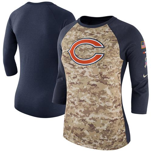 Women's Chicago Bears Nike Camo Navy Salute to Service Legend Three-Quarter Raglan Sleeve T-Shirt