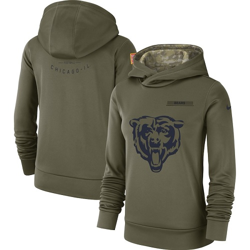 Women's Chicago Bears Nike Olive Salute to Service Sideline jerseyssite.net Therma Performance Pullover Hoodie
