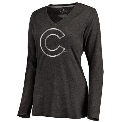 Women's Chicago Cubs Platinum Collection Long Sleeve V-Neck Tri-Blend T-Shirt Black