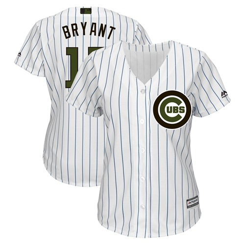 Women's Cubs #17 Kris Bryant White(Blue Strip) 2018 Memorial Day Cool Base Women's Stitched MLB Jersey