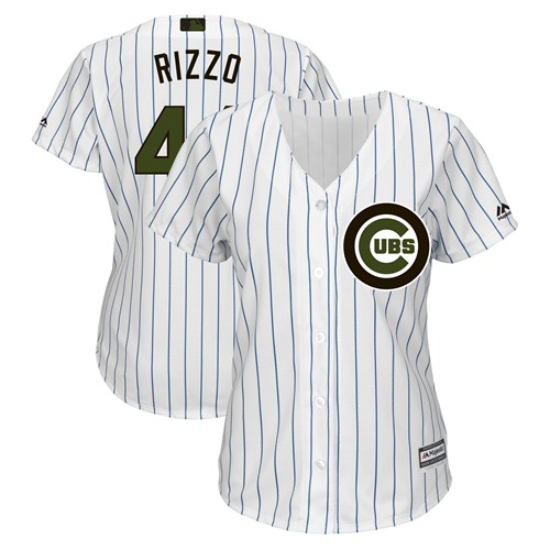 Women's Cubs #44 Anthony Rizzo White(Blue Strip) 2018 Memorial Day Cool Base Women's Stitched MLB Jersey