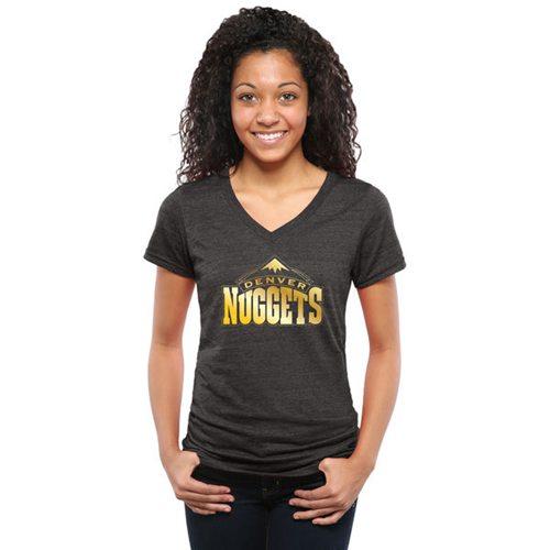 Women's Denver Nuggets Gold Collection V-Neck Tri-Blend T-Shirt Black