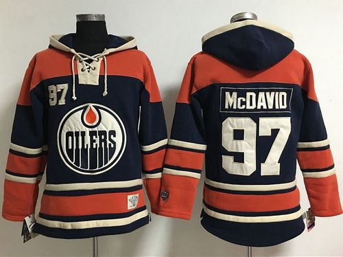 Women's Edmonton Oilers #97 Connor McDavid Navy Blue  Old Time Lacer NHL Hoodie