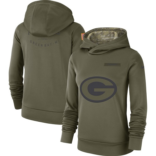Women's Green Bay Packers Nike Olive Salute to Service Sideline jerseyssite.net Therma Performance Pullover Hoodie