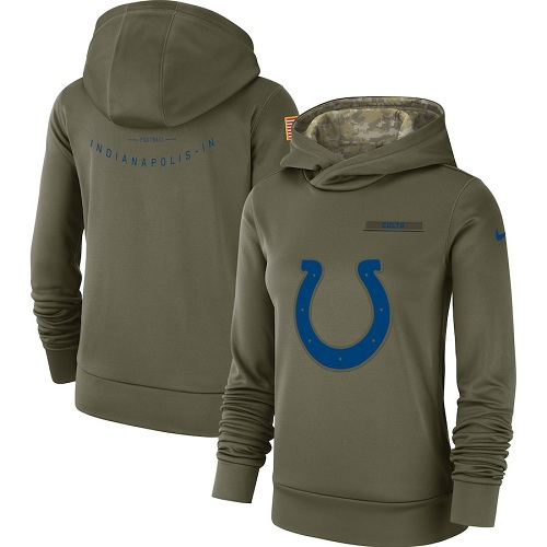 Women's Indianapolis Colts Nike Olive Salute to Service Sideline Therma Performance Pullover Hoodie