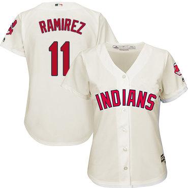 Women's Indians #11 Jose Ramirez Cream Alternate Women's Stitched Baseball Jersey