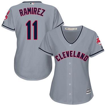 Women's Indians #11 Jose Ramirez Grey Road Women's Stitched Baseball Jersey