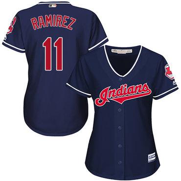 Women's Indians #11 Jose Ramirez Navy Blue Alternate Women's Stitched Baseball Jersey