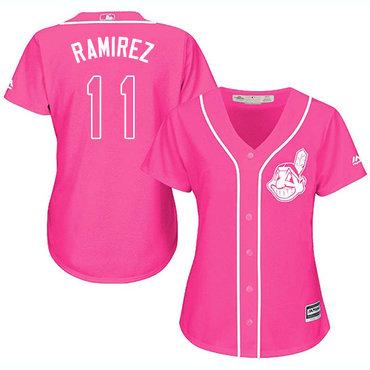 Women's Indians #11 Jose Ramirez Pink Fashion Women's Stitched Baseball Jersey