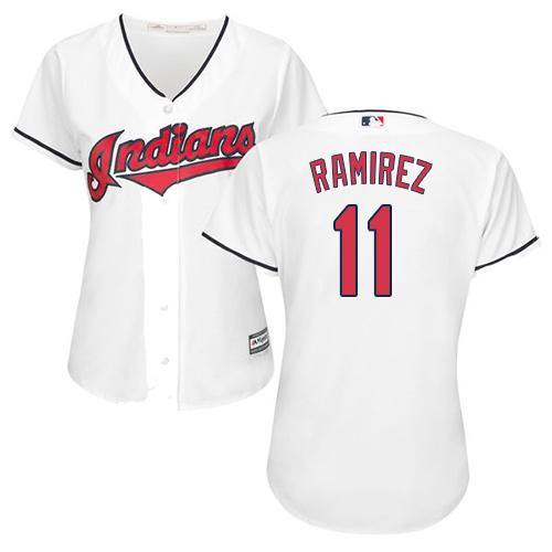 Women's Indians #11 Jose Ramirez White Home Women's Stitched Baseball Jersey