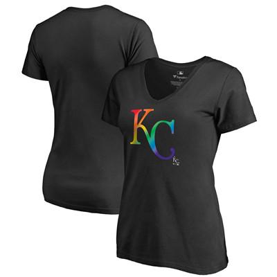 Women's Kansas City Royals Fanatics Branded Black Plus Sizes Pride T-Shirt