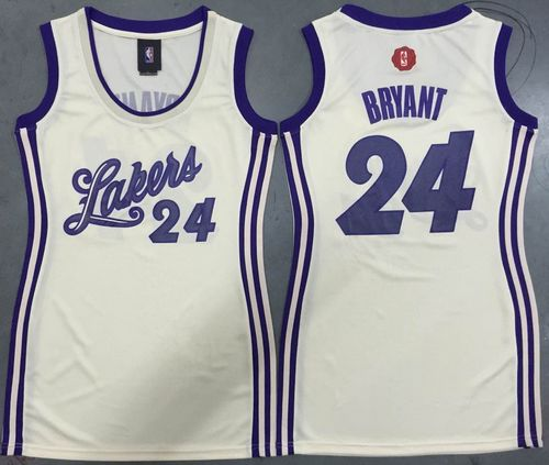 Women's Lakers #24 Kobe Bryant Cream 2015-2016 Christmas Day Dress Stitched NBA Jersey