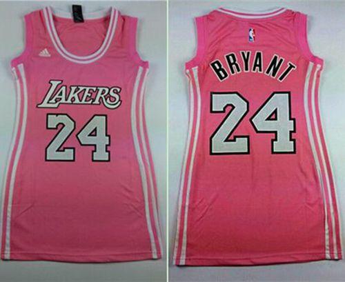 Women's Lakers #24 Kobe Bryant Pink Dress Stitched NBA Jersey
