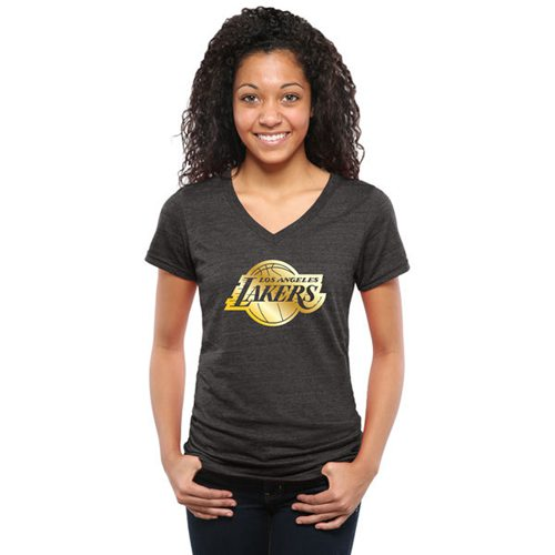 Women's Los Angeles Lakers Gold Collection V-Neck Tri-Blend T-Shirt Black