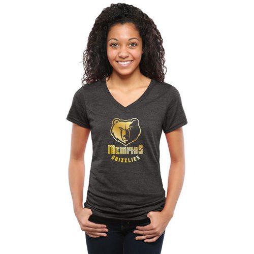 Women's Memphis Grizzlies Gold Collection V-Neck Tri-Blend T-Shirt Black