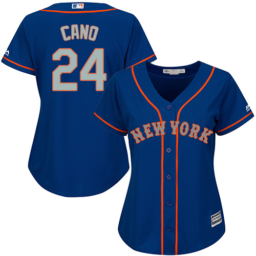 Women's Mets #24 Robinson Cano Blue(Grey NO.) Alternate Women's Stitched Baseball Jersey
